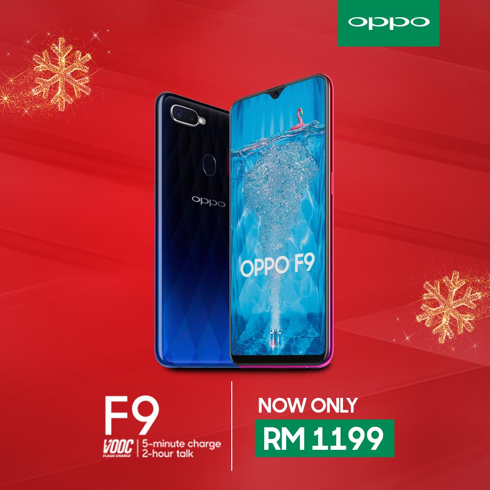 Ho Ho Ho! Get your OPPO F9 with only RM1,199 in this holy